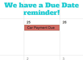 Car payment due date set up in Google Calendar